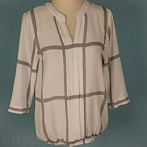 41 Hawthorn windowpane blouse pleated small